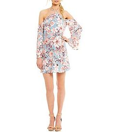 Sugarlips Cold Shoulder Printed Shift Dress