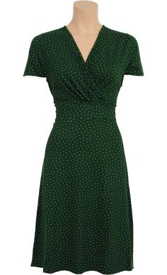 Vintage Inspired Autumn | ◦ | Virginia Dress Little Dots - Forest Green White | ◦ | King Louie AW14