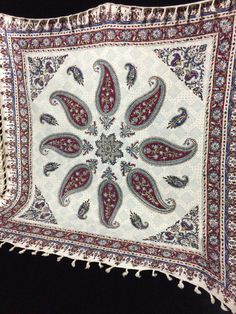 """nice gift table top paisley design, wall decor, natural textile 39"""" inches with tassels"""