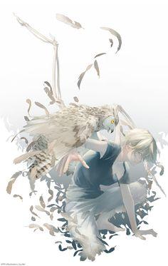 Manga boy with owl Anime Boys, Manga Anime, Anime Art, Art And Illustration, Character Illustration, Hatsune Miku, Couples Anime, Arte Obscura, Image Manga