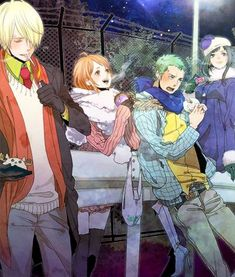 Robin, Zoro, Nami et Sanji - One piece Sanji One Piece, One Piece Nami, One Piece Ship, One Piece Manga, Zoro And Robin, Nico Robin, Zoro Nami, Roronoa Zoro, Monkey D Luffy