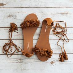 Pom pom Accent Lace Up Flat Sandal