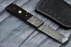 Custom Made Damascus Tanto Folding Knife with Horn Handle B425 F | eBay