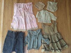 Antique Baby Infant Dress Clothes Vintage Lot 7 Piece Dress Apron Bonnet Shirt