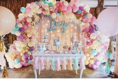 Balloons are the epitome of parties and we're loving the balloon garland trend right now. Check out these 16 Balloon Garland Party Ideas for your next party 16 Balloons, Balloon Garland, Balloon Decorations, Birthday Decorations, Balloon Arch, Pastel Balloons, Balloon Ideas, Birthday Backdrop, Balloon Wall
