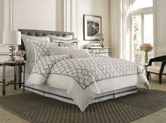 Create an elegant, sophisticated haven in your bedroom with the Kingston comforter set. This bedding has a soft and crisp look with embroidery in soft blues, while the coordinating shams and bed skirt let you create a cohesive look in this charming style.