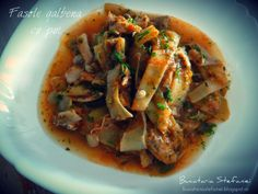Bucataria Stefaniei: Fasole galbena cu pui Romanian Food, Japchae, Cooking Recipes, Meat, Chicken, Ethnic Recipes, Chef Recipes, Recipies