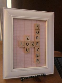 How sweet DIY scrabble tile frame Scrabble Tile Crafts, Scrabble Frame, Scrabble Art, Scrabble Letras, Craft Gifts, Diy Gifts, Handmade Gifts, Diy And Crafts, Arts And Crafts