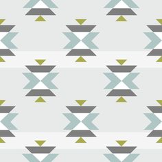 Tribal blue with stripe fabric by >>mintpeony<< on Spoonflower - custom fabric