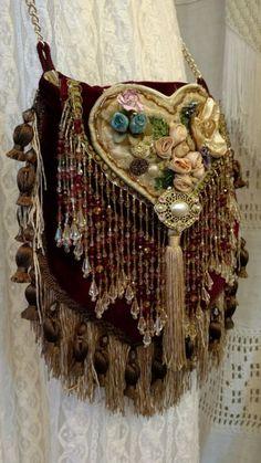 Handmade Cross Body Fringe Fabric Bag Hippie Boho Gypsy Victorian Purse tmyers