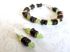 Shell and Jade Bracelet Earrings Set Hand Crafted By Isis Creations ~Size 7.5 Sterling Ear Wires Wiccan, Pagan Reiki Artisan Jewelry by IsisCreationz on Etsy