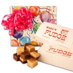 Birthday Balloons Fudge Gift Box, 2 Pounds Hall's Fudge (Chocolate Peanut Butter Layered) Hall's Candies Online Shopping to see or buy click on Amazon here http://www.amazon.com/dp/B00HX8NXQK/ref=cm_sw_r_pi_dp_rSMKtb1YG7N14HGJ