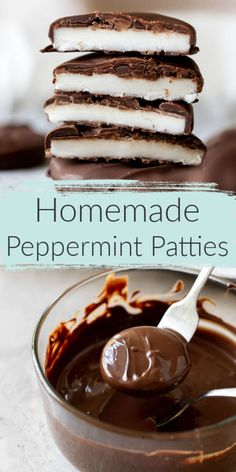 These Homemade Peppermint Patties feature a creamy peppermint center coated in semi-sweet chocolate. Incredibly easy to make with just 5 simple ingredients! Homemade Peppermint Patties, Homemade Candies, Homemade Desserts, Easy Desserts, Delicious Desserts, Homemade Gifts, Salted Chocolate, Chocolate Recipes, Peppermint Chocolate