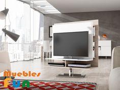 Panel de TV en color sahara combinado con blanco lacado y es giratorio.