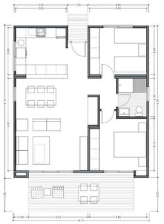 Plano de casa moderna de 75m2 con 2 dormitorios Small House Floor Plans, Dream House Plans, Modern House Plans, The Plan, How To Plan, Container Home Designs, Container House Plans, House Layout Plans, House Layouts