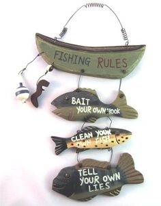 Santas Tools and Toys Workshop: Home: Wood Fishing Rules Sign - Fish Boat Nautical Decor New Approximately 8 X 14