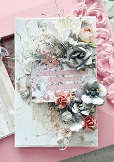 """""""The Rose Quartz collection is such a delight to create with, it's the perfect amount of shabby and pretty combined. I created two tags to share today using lots of mixed media products, papers from the collection and lots of gorgeous flowers."""" ~ Stacey Young"""