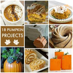 18 Pumpkin Projects! So many fun recipes and DIY ideas for Fall!