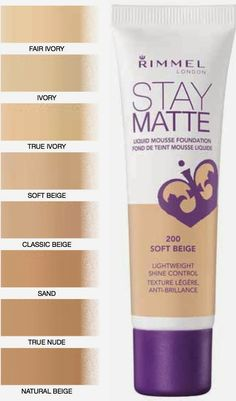 Rimmel Stay Matte Foundation-- this makes my skin look absolutely flawless. The shade range isn't great. It's not completely matte. It's more a natural or satin matte finish. Medium-full coverage on the first layer! And it's super cheap! Rimmel Foundation, Stay Matte Foundation, Foundation Colors, Best Drugstore Makeup, Makeup Dupes, Makeup Brands, Best Makeup Products, Beauty Products, Makeup Products