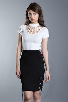 386-SATEEN 106-000392 DALGIÇ YANI İPLİ ETEK #fashion #moda #style #sateencom www.sateen.com.tr