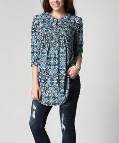 This Blue Floral Notch Neck Pin-Tuck Tunic - Plus is perfect! #zulilyfinds