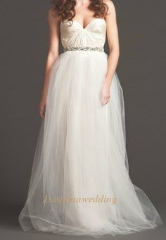 Modern Sweetheart Beaded Pregnant Tulle by Dainanaweddingitems, $259.00