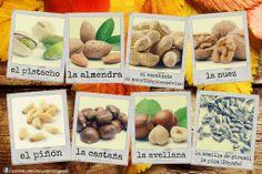 El nombre de los frutos secos Spanish Food, Learning Spanish, Mani, Garlic, Stuffed Mushrooms, Vegetables, Activities, Education, Sunflower Seeds