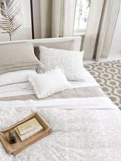 Bedding  White Embroidered Silver Hem Sheet Set