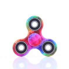 Wooce Led Finger Spinner Toy Hand Spinner Toy Finger Spinner Toy EDC Metal Stress Reducer for ADHD ADD Anxiety Autism 6 beads Gray