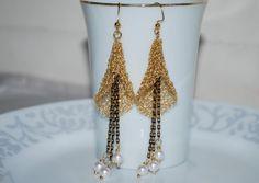 Crochet Wire Earrings, Crochet Wire Jewelry, Wire Crocheted Earrings - with Freshwater Pearl, White, Gold Tone Wire. $36.00, via Etsy.