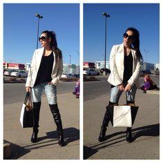Classic Black & White   #dkny #bebe #prada #swarovski #zara #blazer #classy #outfit #fashion