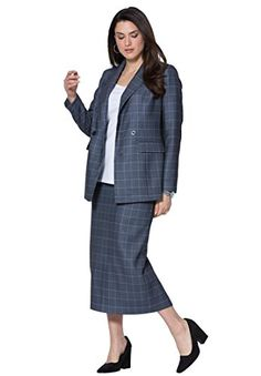 Jessica London Womens Plus Size DoubleBreasted Skirt Suit Plaid14 *** Learn more by visiting the image link.