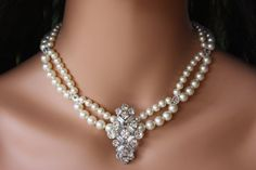 Pearl and Rhinestone Bridal Necklace/Choker with Brooch Center Piece on Etsy, $89.00