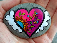 Fairy Tale Heart / Series / Painted Rock / Sandi Pike Foundas / Cape Cod / Beach Stone