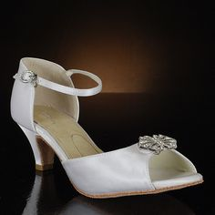 """Vintage Angela Nuran wedding shoe with Hollywood glam heel, perfect for those outdoor weddings, """"the best of ballroom dance shoes with couture bridal style""""."""