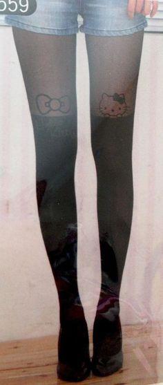 NEW Ladies Woman Cute Black Sheer Hello Kitty Stockings Tights Pantyhose Socks   | eBay