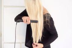 Long, blond, hair, lisseur
