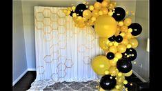 Bumble Bee Balloon Garland Backrop DIY – – - Decoration For Home Mommy To Bee, Bumble Bee Decorations, Bumble Bee Birthday, Yellow Balloons, Balloon Garland, Diy Garland, Baby Shower Backdrop, Baby Shower Gender Reveal, Bee Gender Reveal
