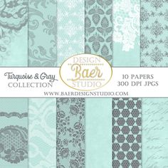 LACE DIGITAL PAPER:Digital Paper Turquoise, Digital Paper Vintage, Turquoise and Gray Digital Paper, Digital Scrapbook Paper, Planner Paper by BaerDesignStudio on Etsy.  These high quality designer papers are created for making scrapbook layouts, cards, invitations, junk journals, baby shower printables and more.