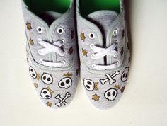 Hand painted Pumps/ Sneakers   Skulls and Gold   by kezbirdie, £60.00