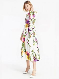 Shop White Floral Leaves Print Long Sleeve Midi Dress from choies.com .Free shipping Worldwide.$52.99