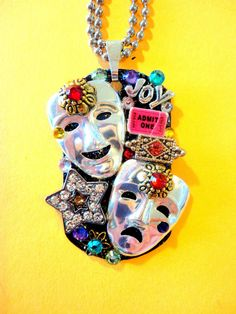 Drama Masks Dog Tag Pendant Number 758 by BradosBling on Etsy, $29.99