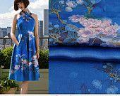 Pear Blossoms Print Blue Silk Charmeuse Fabric, Fashion Floral Silk Satin Fabric, silk fabric by the yard,1m-SZD44236696824