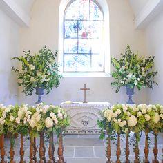 White and green church wedding flowers.  Jane Wadham Flowers