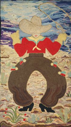 An American hooked wool rug depicting a Cowboy<br>circa 1940 | Lot | Sotheby's