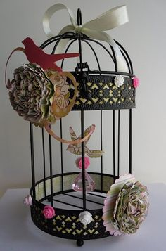Altered Bird Cage @ http://shoestringscrapbooking.typepad.com