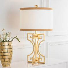 Greek Key Table Lamp Perfecto if I get the gorgeous gold and coral console table!