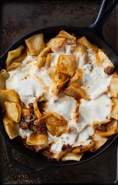 "simple skillet lasagna -- could easily make a vegetarian version of this by using mixed veggies or meatless ""ground beef"" for this :)"