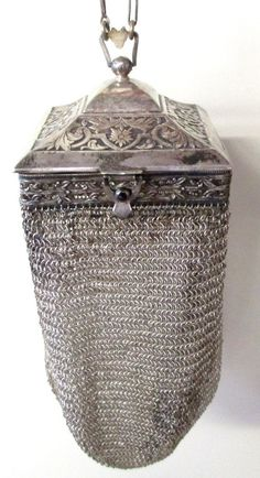 Antique Square Framed Vanity Silver Armor Mesh Purse