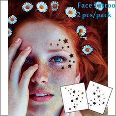 1ced3000a1298 Details about Girls Womens Small Gold Flash Metallic Stars Temporary Face  Tattoos Stickers UK